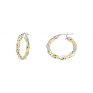 10KT 15mm 2-Tone Diamond Finished Earrings
