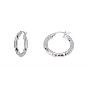 10KT 15mm Fancy White Earrings