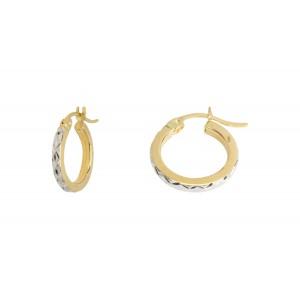 10KT 2-Tone Diamond Finished Earrings
