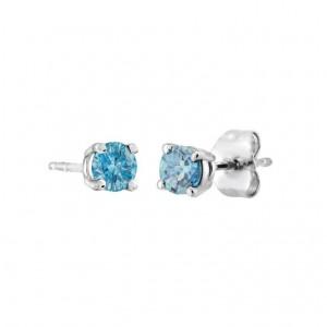 Boucle d'oreille or blanc 14kt Diamants bleus 25 PTS C16-006