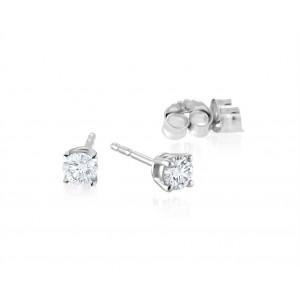 Boucle d'oreille or blanc 14kt Diamants incolores 15 PTS SI C16-005