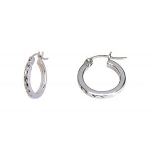 Diamond cut finished earrings 10Kt white gold