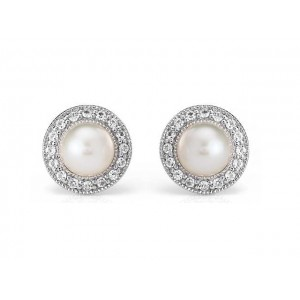 Freshwater Pearl Earrings with Topaz
