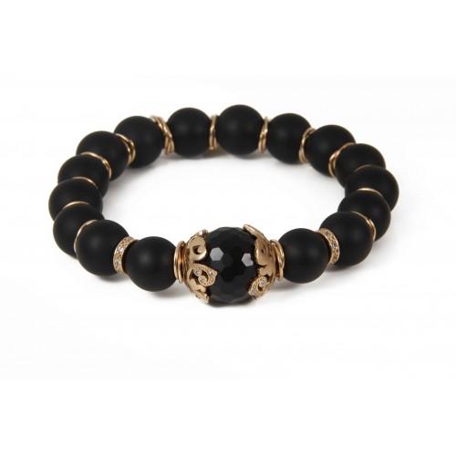 Onyx Whit Cat S Eye Stone Bracelet Silver Cz Orb98 7